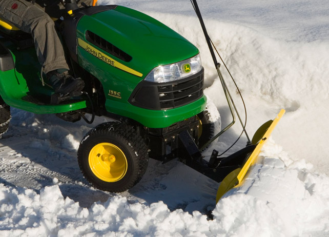 46 Inch Snow Blade Attached To 155c Mower Clearing Snow