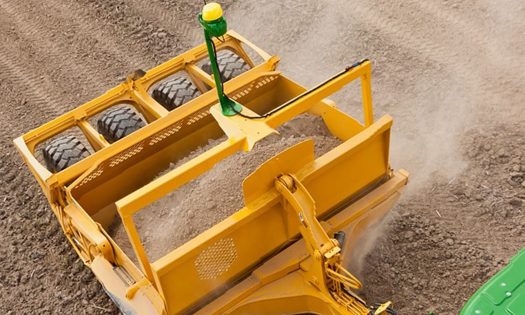 Overhead view of a Carry-All Scraper at a job site