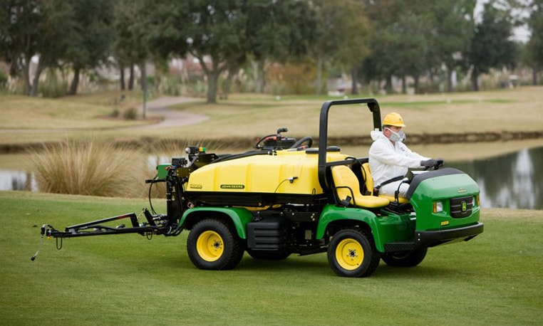 Operator uses Gator Pro to spray golf course turf