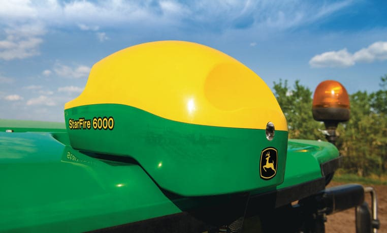 close up image of starfire 6000 mounted on tractor