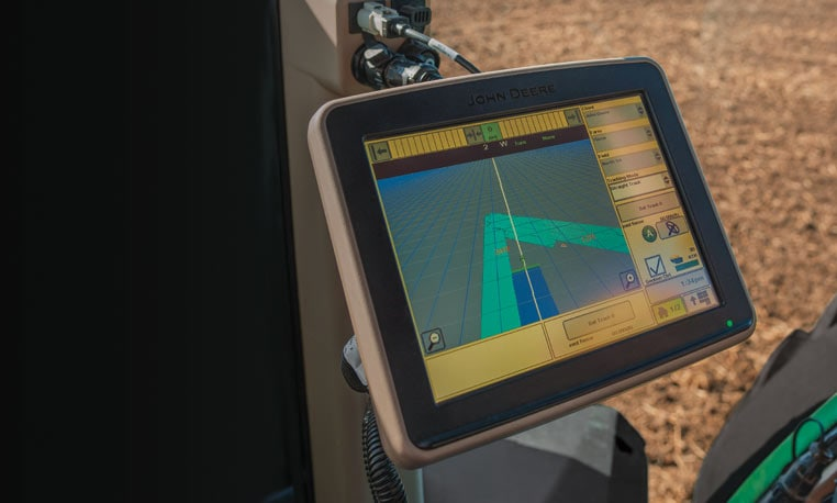 Guidance display in cab of tractor