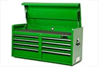 Studio image of a Green 56-inch, 8-Drawer Ball Bearing Chest with open lid