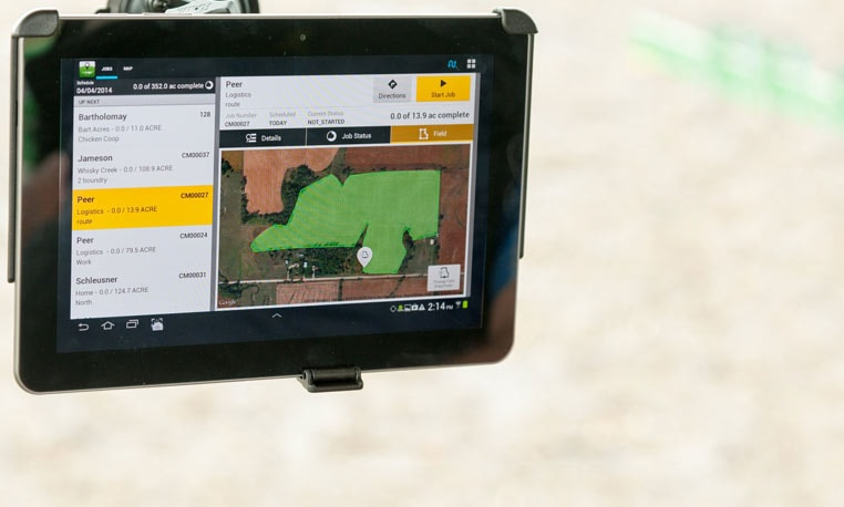 Image of a display monitor in a John Deere tractor