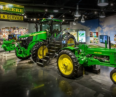 Tractor models display at the John Deere Tractor and Engine Museum