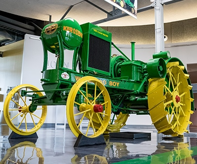 A Waterloo Boy Tractor on the museum display floor
