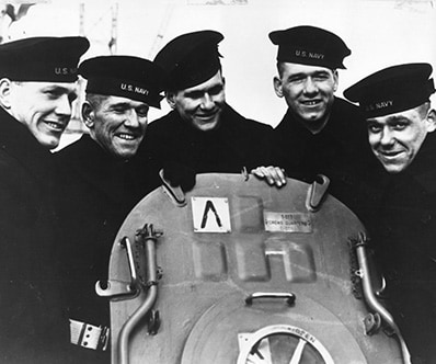 Historic photo of the five Sullivan brothers