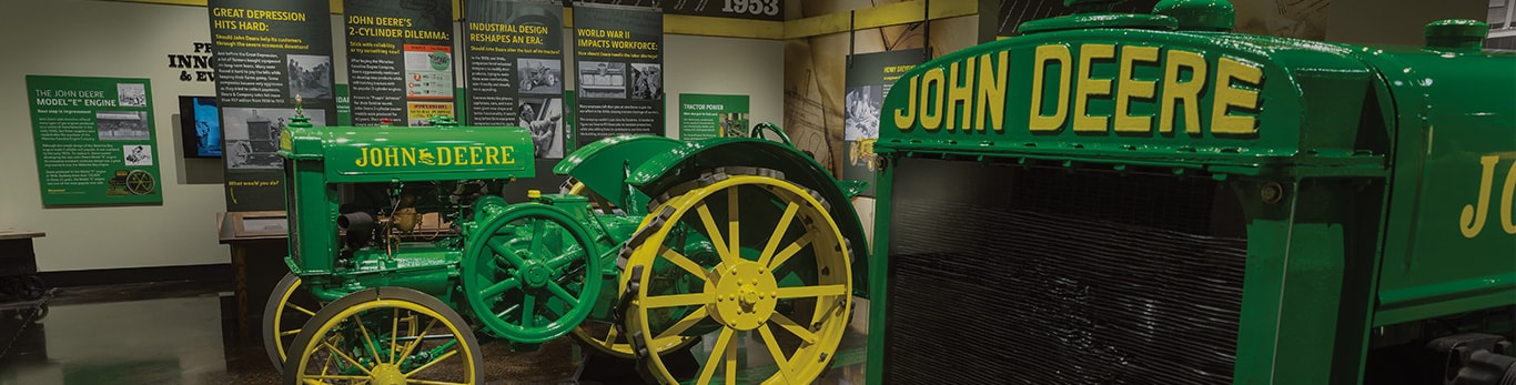 Older tractor models display at The John Deere Tractor and Engine Museum