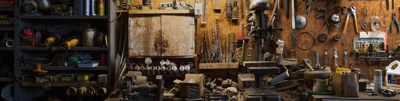 Workbench featuring a large assortment of organized tools