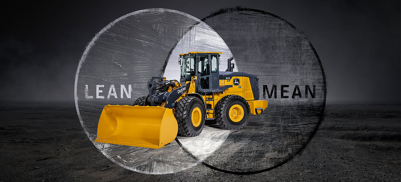 A 644 G-Tier Wheel Loader superimposed on a gritty grey background on top of two intersecting circles with the words lean and mean in them.