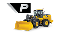 Side view of a 644 P-Tier Wheel Loader on a white background with the P icon from the machine shown large above it