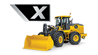 Side view of a 644 X-Tier Wheel Loader on a white background with the X icon from the machine shown large above it