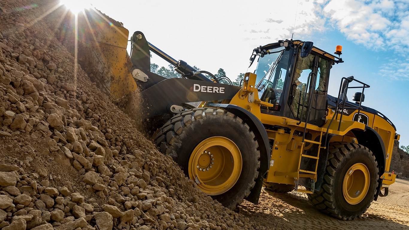 The new 824l wheel loader working on a construction site.