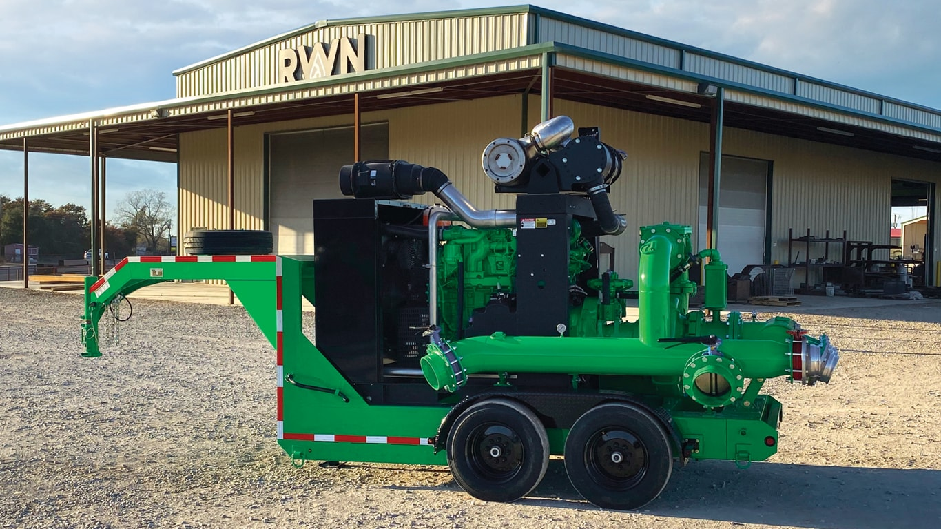 RWN pumping unit with John Deere industrial engine built for oil and gas industry drilling and fracking applications