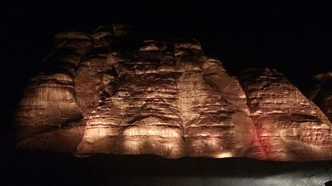 "During the ""Winter at Tantora Festival"", John Deere-powered generators helped light up rock formations"
