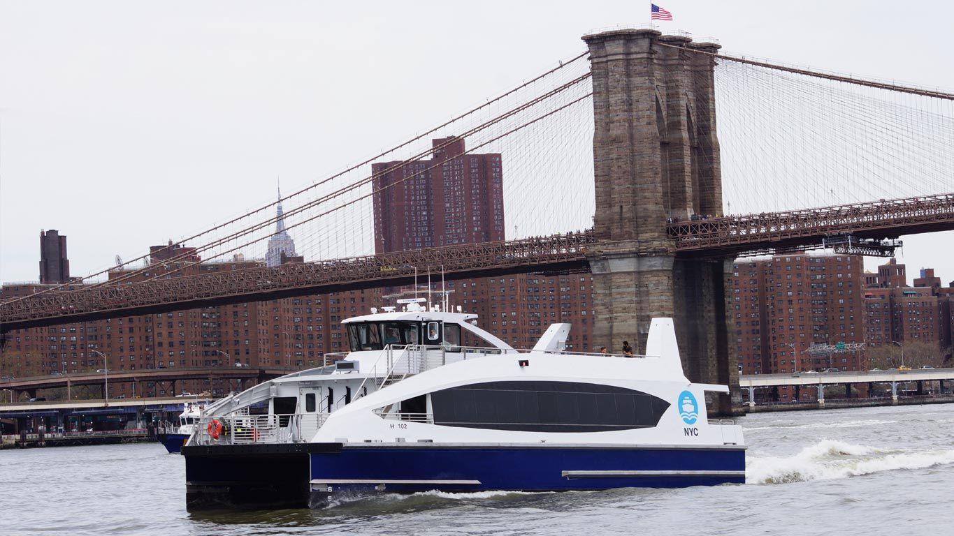 A New York City ferry provided by Hornblower
