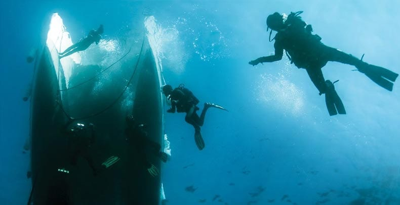 Divers swimming under the catamaran