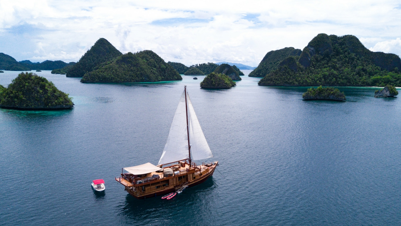 The luxury yacht sails in Indonesia