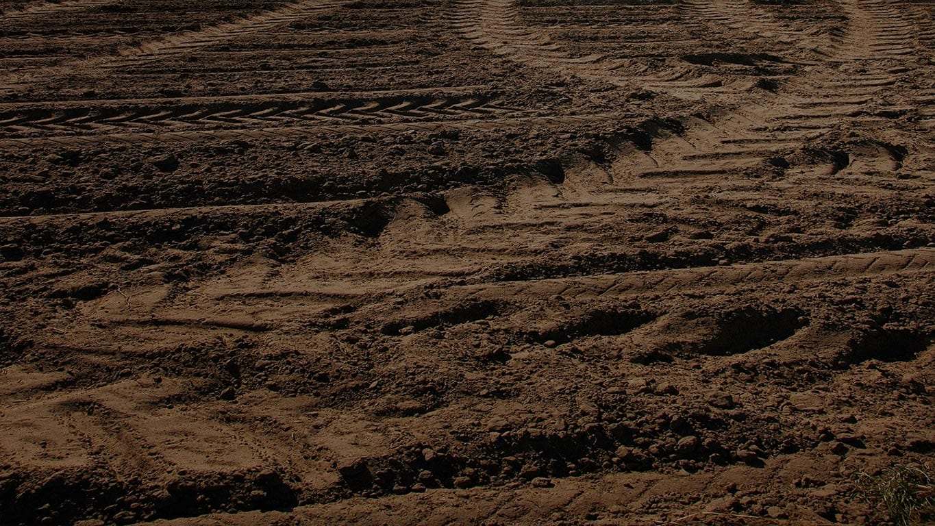 Tire tracks in a muddy field