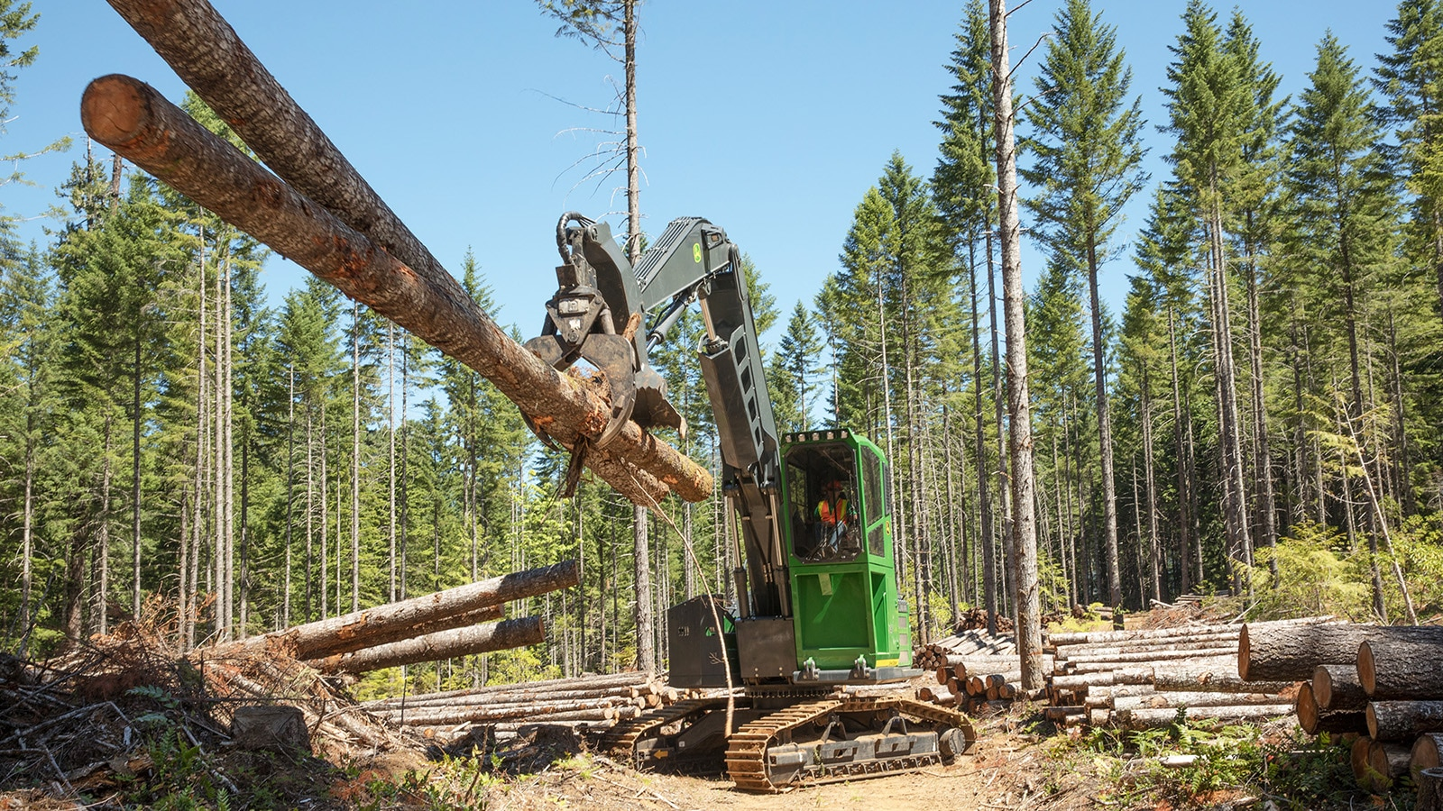 swing machine working in the woods, moving two logs