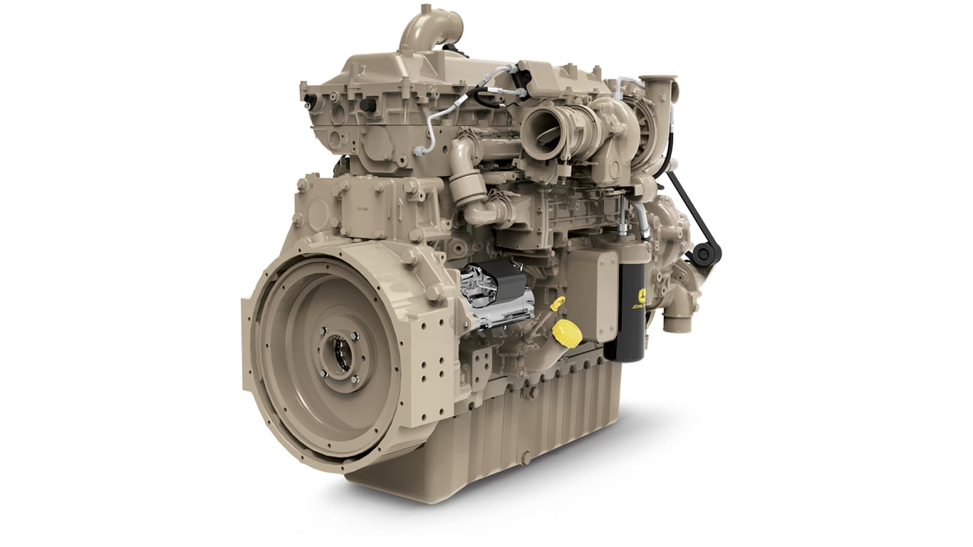 image shows John Deere 13.6L single turbo engine