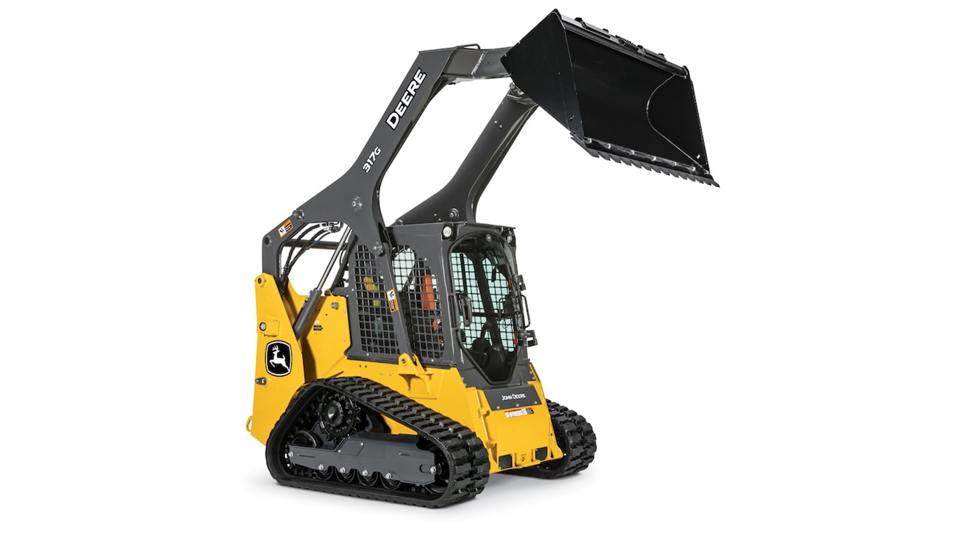 Side view image of the 317G Compact Track Loader with raised bucket