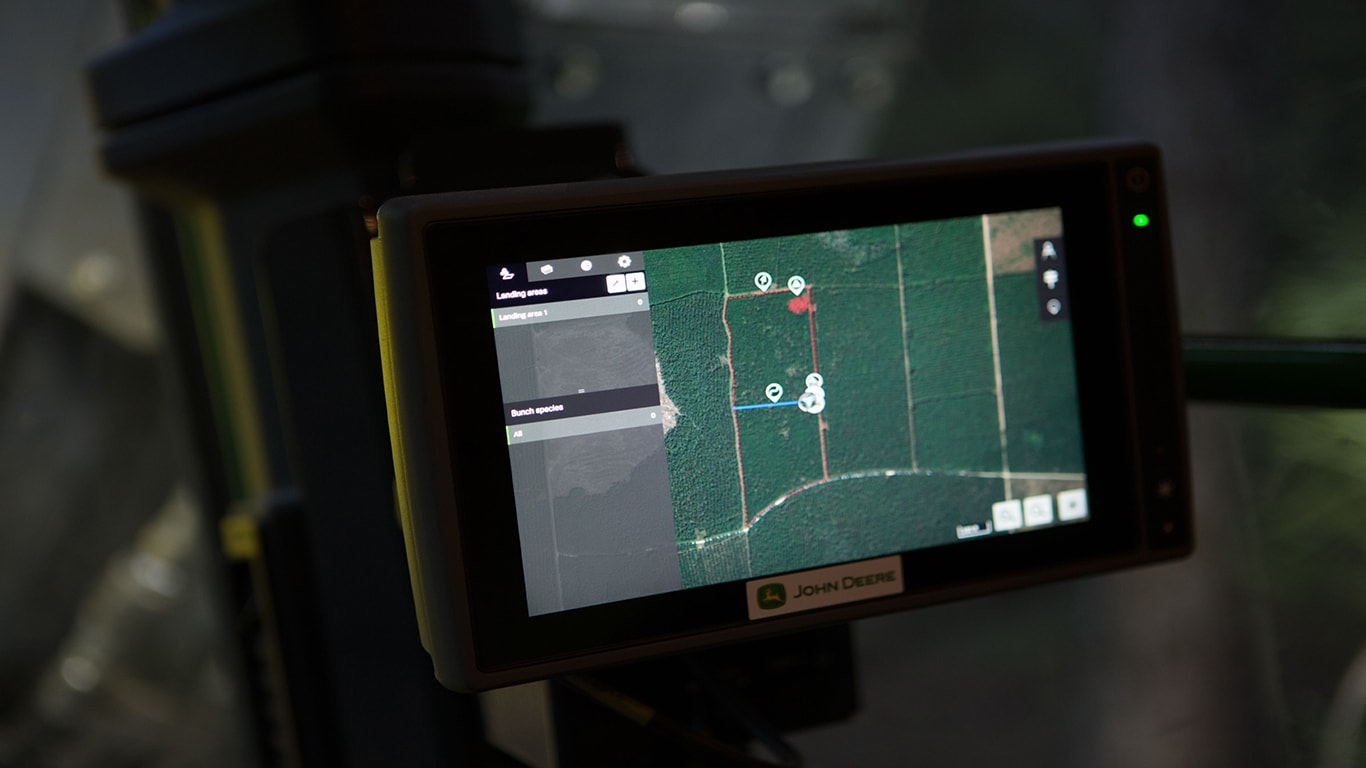 TimberMatic Maps in use in the cab of a machine, offering a look at the jobsite.