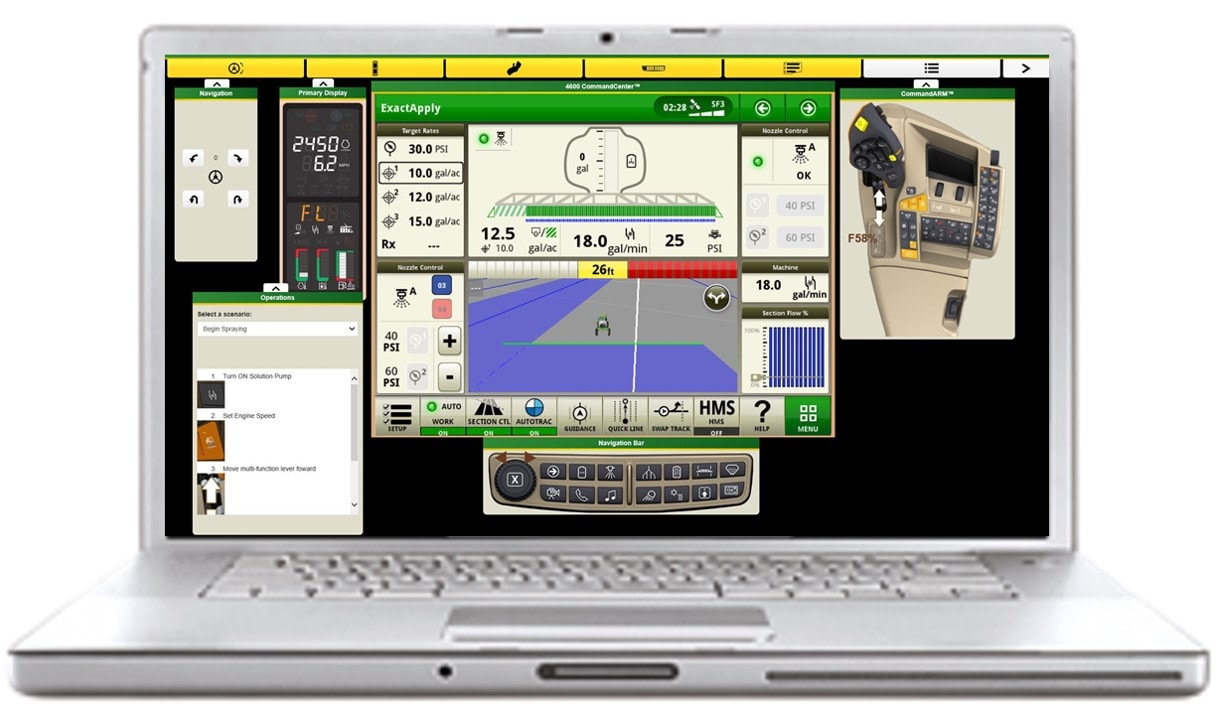 Laptop computer showing agriculture equipment simulator software