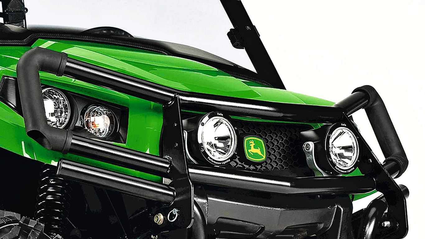 Closeup of a John Deere gator