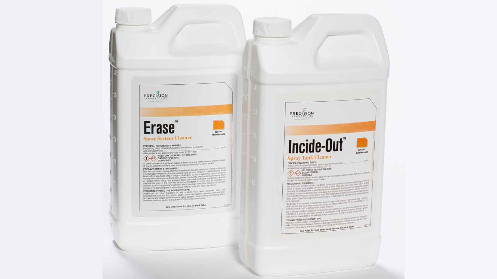Studio shot of Erase and Incide-Out chemicals