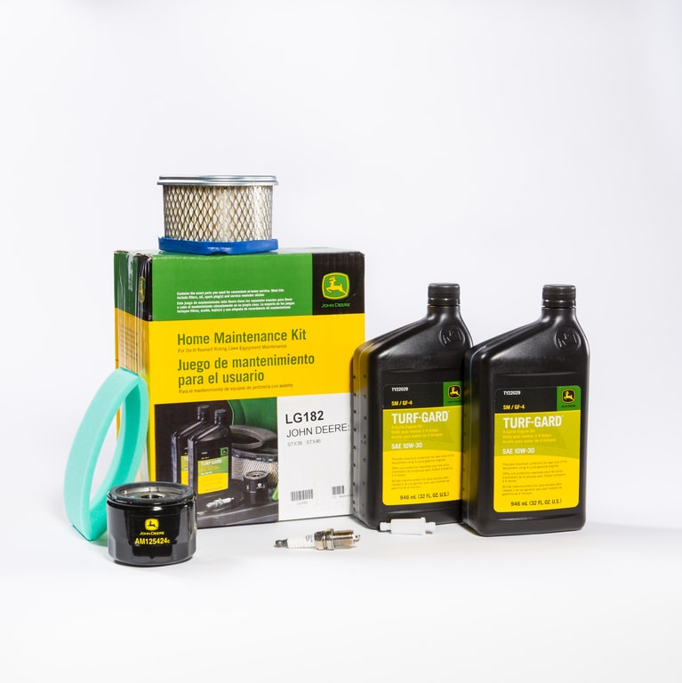 John Deere Home Maintenance and Filter Pak products stacked