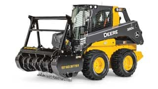 330G Skid Steer with MH60D Mulching Head attachment on white background