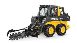 324G Skid Steer with TR48B Trencher attachment on white background