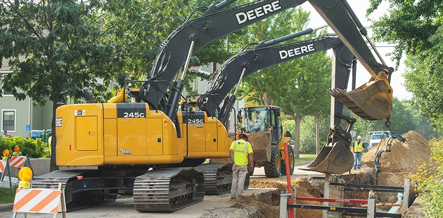 245G LC excavator on a worksite