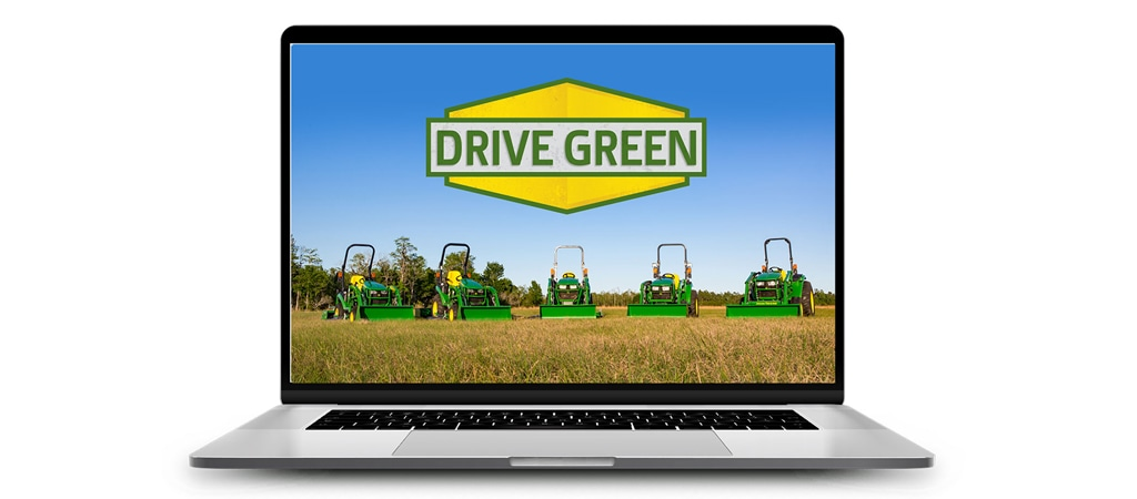 open laptop with Drive Green logo