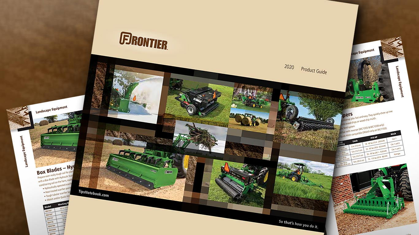 image of frontier product guide cover
