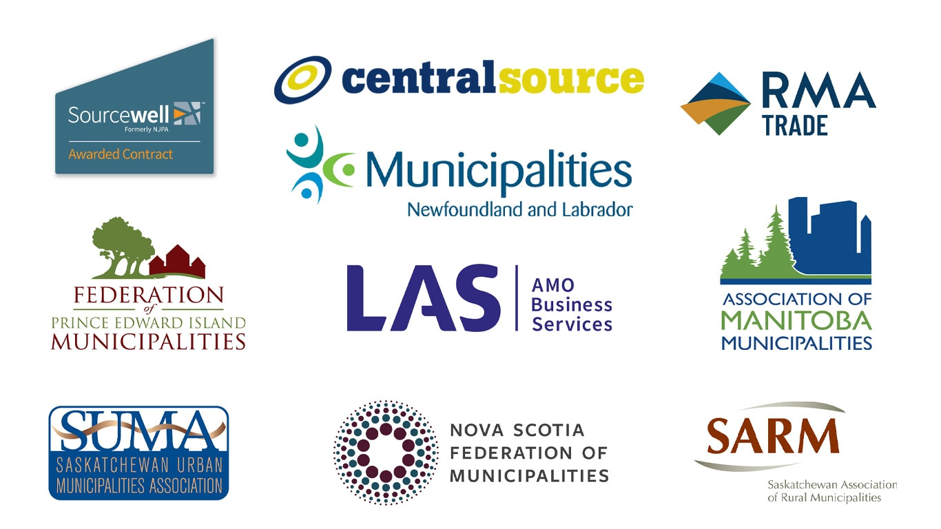 Sourcewell and provincial associations logos