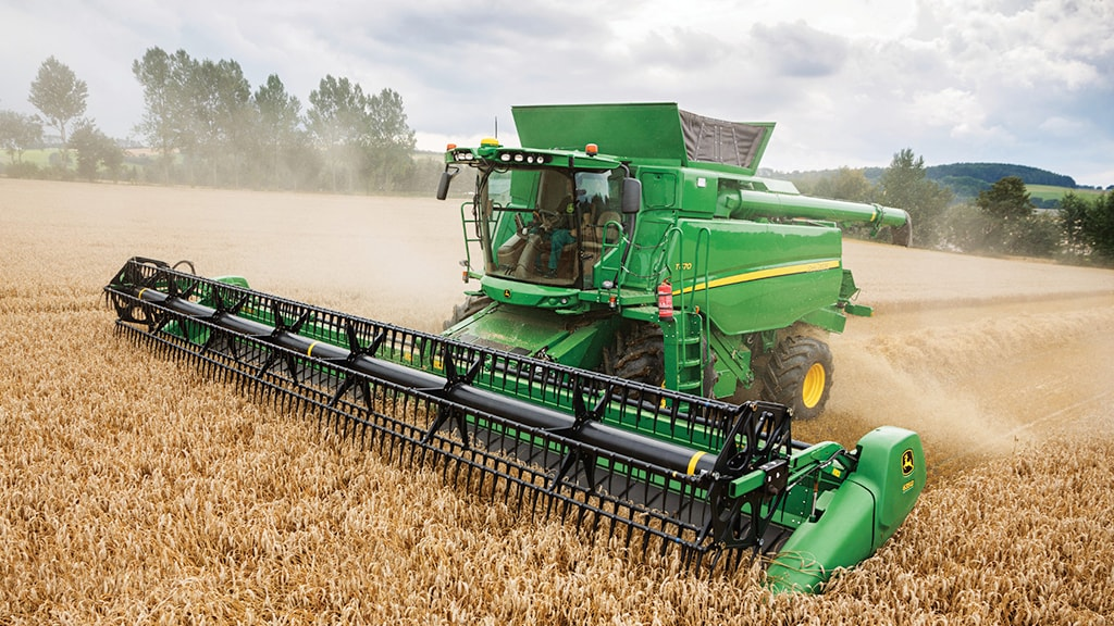 Photo of T670 Combine in the field.