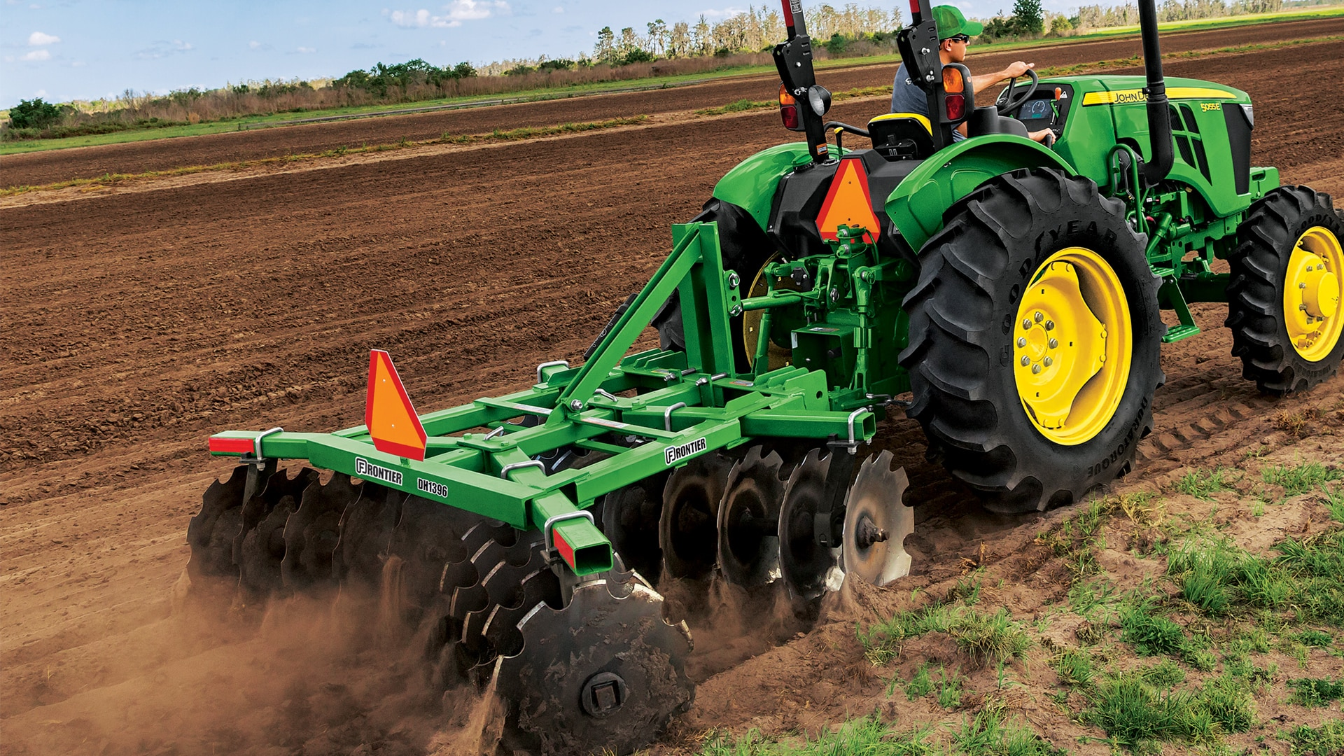 tractor with tillage attachment