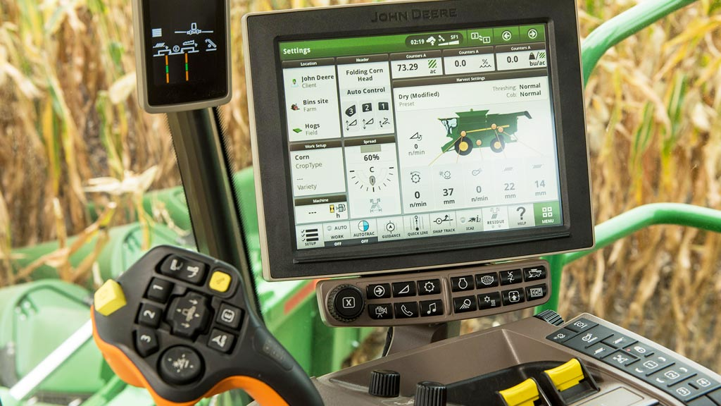 Inside view of cab controls in combine
