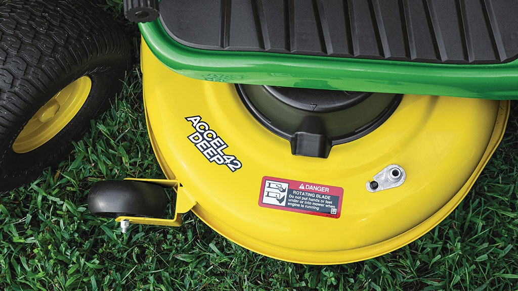 Close up image of the Accel Deep Mower Deck