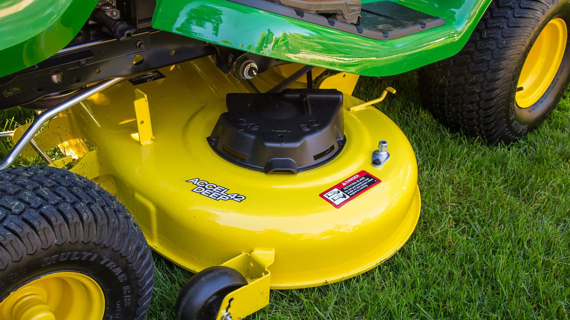close up of a mower deck