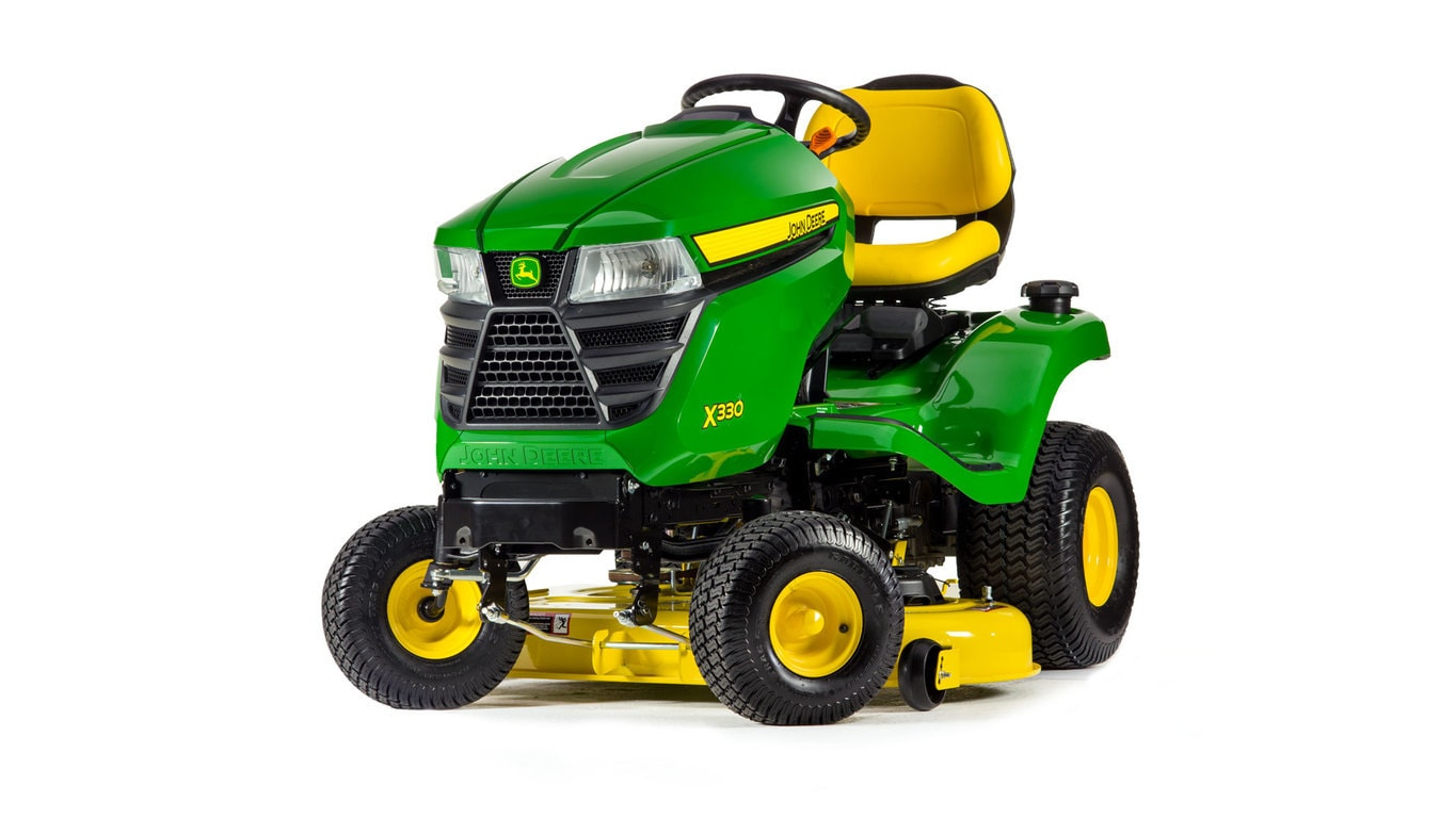 Three-quarter view of X330 lawn tractor