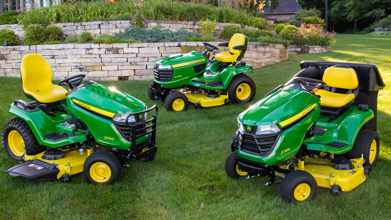 group shot of lawn tractors