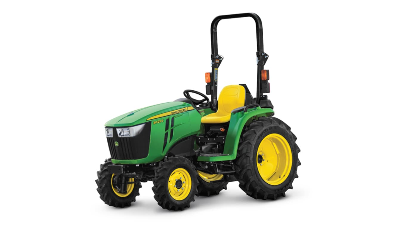 base model studio image of the John Deere 3025e compact utility tractor