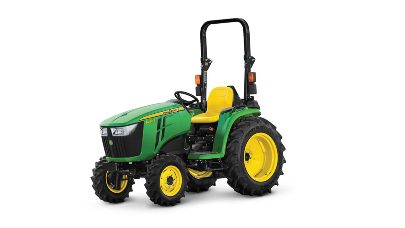 base model studio image of the John Deere 3038e compact utility tractor