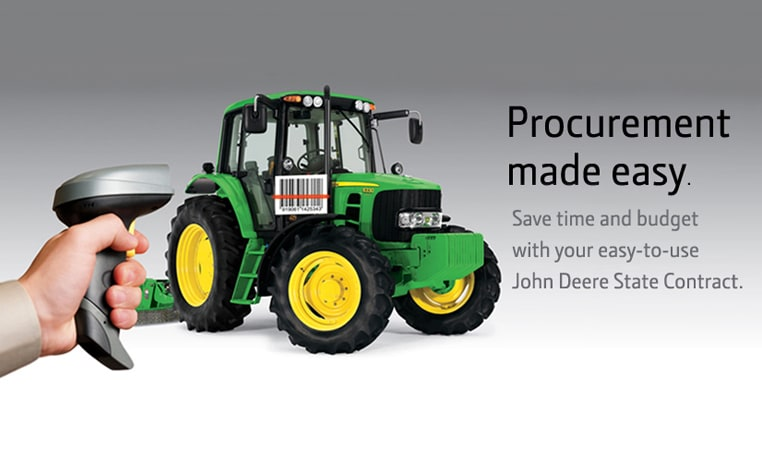 John Deere tractor with bar code and a man holding a bar code scanner