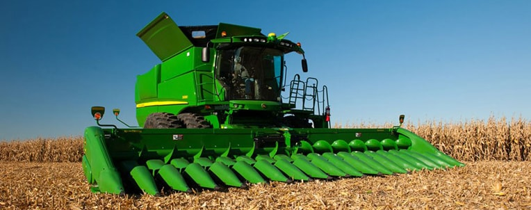 Corn Head on Combine in a corn field
