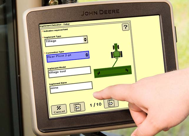 Close-up of John Deere Implement Detection screen