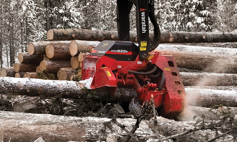 Closeup of a Waratah attachment cutting into logs in a winter forest