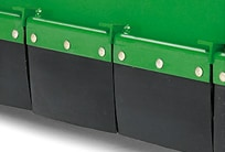 Closeup of the rubber deflectors on the John Deere Flail Shredder